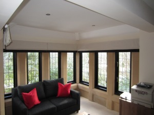 Box bay Roman blinds