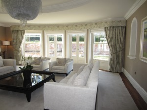 GP and J Baker silk embroidered curtains and pelmet fully lined and interlined.