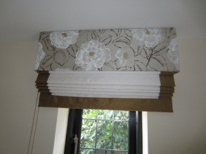 Roman Blind with co-ordinating silk border inder a pelmet