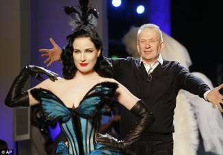Jean -Paul Gaultier & Deta Von Teese on the catwalk in Paris