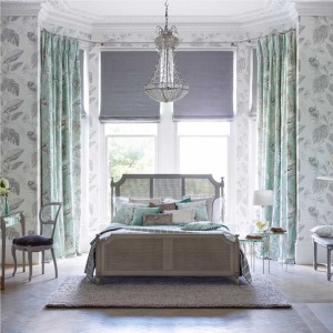 Harlequin-Palmetto-bedroom-mint-Amborella-Silk
