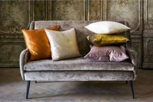 Harlequin-Palmetto-Silks-grey-sofa-orange-cushion-1