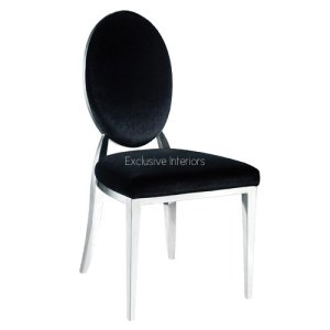 Exclusive interiorsBlack Oval Back Chrome Frame Dining Chair (H93 x W49 x D54cm)