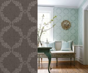 T7676Thibaut Damask Resource Volume 3 Antoine Trellis Silver on Charcoal - T-7676 ( T7676 ) Pattern